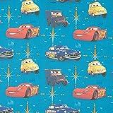 Fabulous Fabrics Baumwollstoff Disney Cars 2 – türkis — Meterware ab 0,5m — Oeko-Tex Standard 100 — zum Nähen von Kinderartikeln, Outdoor-Deko und Kissen und Tagesdecken
