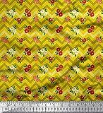 Soimoi Gelb Seide Stoff Dot, Blumen & Chevron geometrisch