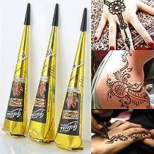 Cono con tinta para tatuajes de henna temporales, color rojo