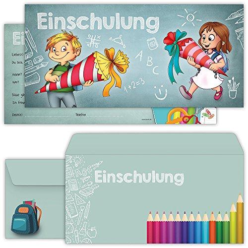 Einschulung Einladungskarten mit Umschlägen (12er Set) zum Schulanfang | Liebevoll gestaltete Einladungen für Kinder zum Schulbeginn (Teen Party-einladungen)