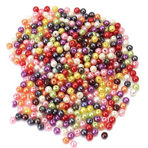 Pinzhi - 500 Piezas Abalorio Cuentas Bolas de Vidrio Cristal para Hacer Collar Pulseras Brazalete Manualidades DIY Jewelry