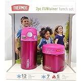 مجموعة الغداء وزجاجة طعام للأطفال من ترموس فانتينر - آمنة للاستخدام في غسالة الأطباق وخالية من البيسفينول - قطعتان (زهري, مجم