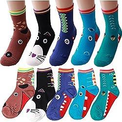 Groß Mund Tiere Neuheit Mannschafts Socken mit Beutel Packung mit 5 Paaren - Hund, Katze, Nilpferd, Drache, Einhorn