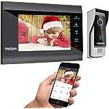 TMEZON 1080P IP wifi 7 inch intercom video deurbel, 4-draads deurbel, nachtzicht, ontgrendelen op afstand op mobiele APP Tuya