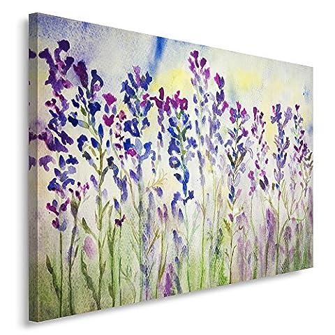 Feeby Frames, Tableau imprimé xxl, Tableau imprimé sur toile, Tableau deco, Canvas 80x120 cm, FLEURS DE LAVANDE, NATURE, VIOLET, VERT, COULEUR,