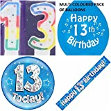 13. Geburtstag Party Set Jungen. Alter 13 Boy Kit (Banner, Luftballons, Kerze, Badge)