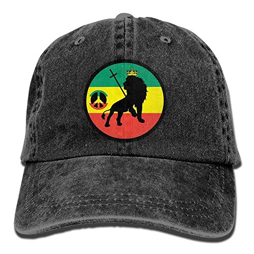 NFHRREE Men Women Cool Rasta Lion Peace Sign Jeanet Baseball Hat Adjustable  Trucker Cap 4242617fff03