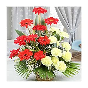 Arrangement of Yellow Carnations with Red Gerberas - Giftacrossindia