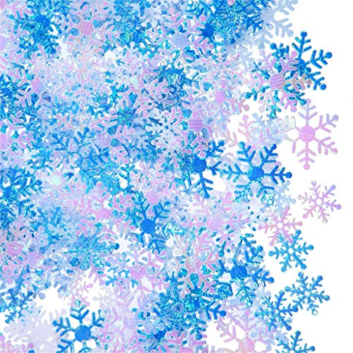 Lvcky 1000 Stück Weihnachten Schneeflocken Konfetti weiß blau Tischkonfetti für Weihnachten Hochzeit Geburtstag Winter Party Dekoration Supplies (Supplies Party Winter)