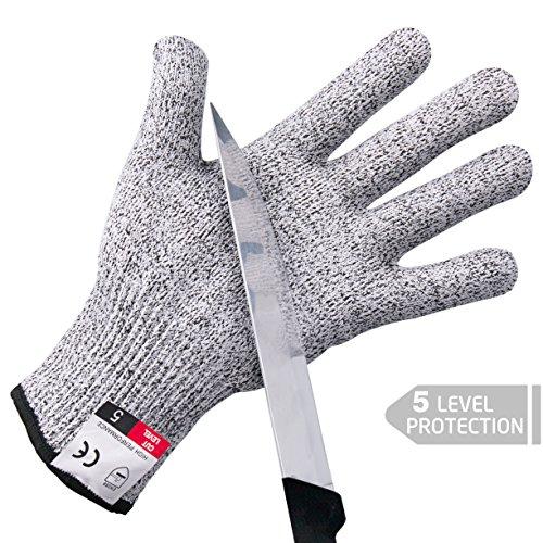Schnittfeste Handschuhe, Tintec Schnittschutz Level 5 Lebensmittelecht Arbeitshandschuhe Größe:M, 1 Paar