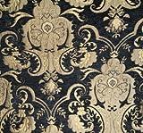 Chenill Damast-Stoff, Farbe: Schwarz/Gold, Preis pro Meter,