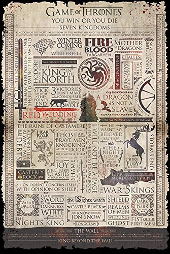 Fantasy-film-poster (empireposter Game of Thrones-Infographic-Fantasy Film Poster-Grösse 61x91,5 cm, Papier, bunt, 91.5 x 61 x 0.14 cm)