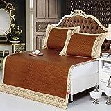 MZ Faltbare Sommerschlafmatte, Dreiteilige Einzel-Doppelmatten-Set Bettwäsche Indonesien Original Rattan Sitze (Farbe : Dunkelbraun, größe : 1.5 Meters Bed)