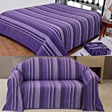 Homescapes Morocco Textured Stripe Throw 60 x 80 Inches Mauve Purple Lilac Handmade 100% Cotton Suitable for most 2 Seater Sofas Single bedspreads Easy care washable at home