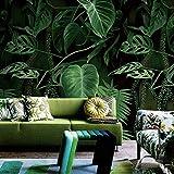 HUANGYAHUI Wandbilder Grüne Pflanzen Wallpaper Esszimmer Schlafzimmer Wohnzimmer Hintergrund Tapete Drucken Auf Benutzerdefiniertem Wandmalereien Des Tropischen Regenwaldes.