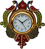#9: JaipurCrafts Beautiful Wooden Peacock Emboss Painting Wall Clock (Multicolor)