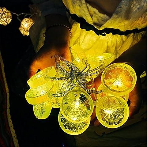 3M 20LED Zitrone Lichterkette Batteriebetriebene Weihnachtliche mit Lichterkette Warmweiß - Transparente Stern für Party Deko, Garten Deko, Weihnachten, Hotel, Fest Deko,Hochzeit, (Batteriebetriebene Globe-leuchten)