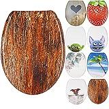 WC Sitz mit Absenkautomatik, Duroplast Toilettendeckel, Softclose Klobrille - Motiv Holz-Optik Design Dekor