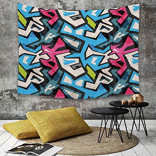 Tapestry, Wall Hanging, Grunge, Street Art Theme mit bunten Graffiti Funky Display Underground Urban Culture, M,wall hanging wall decor, Bed Sheet, Comforter Picnic Beach Sheet home décor 180 x 230 cm - Street Wall Tapestry