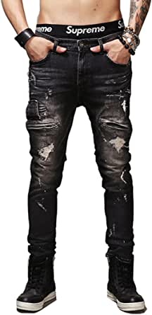 Fashion_Refinery Men's Black Slim Fit Ripped Jeans with Zipper Decoration Denim Trouser
