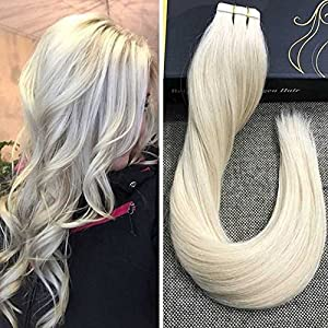 Ugea 60# Plus Leger Blond Tape Bande Adhesive Remy Extension de Cheveux Humains Bresilien Naturel Non-traites Cheveux Droit Lisse Soyeux 50g/20pcs 18 Pouces