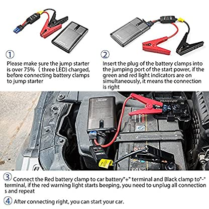 61X48D%2BwhiL. SS416  - Multi-Functional 300A Peak Current Car Jump Starter in Black