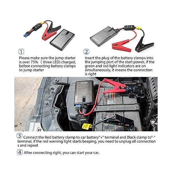 BESTEK 5400mAh Arrancador de Coches Booster de Batería Portátil Multifuncional Jump Starter Cargador de Batería…
