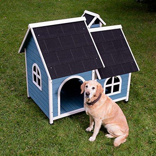 Animalmarketonline cuccia per cani cuccetta in legno da esterno trattata l 134 x p 99 x h 120 cm (2 scatole*)