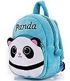 DZert Panda Kids School Bag Soft Plush Backpacks Cartoon Baby Boy/Girl (2-5 Years) Light Blue