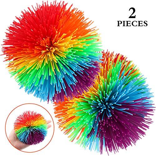 Stringy Balls 4,5 Zoll Groß Sensorisch Fidget Stringy Balls Weiche Regenbogen Pom Bouncy Stress Balls mit Aufbewahrungstasche, Mehrfarbig (4,5 Zoll 2 Stücke) ()