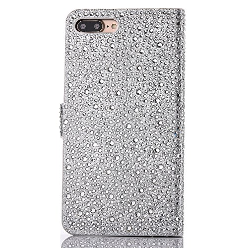 "Cover pour Apple iPhone 7Plus 5.5""(NON iPhone 7 4.7""), CLTPY Mignon Paillette Flash Diamond Motif Style Design avec Magnetique et Fente de Carte Full Body Wrap Back Cover Case Couvrir pour iPhone 7Plu Argenté 2"
