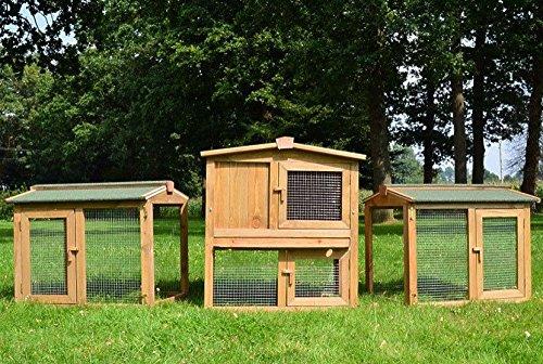 Zooprimus conigliera in legno spazioso comodo e funzionale recinto a 3 corpi e 2 livelli per tutti i piccoli animali da allevamento misure complessive 220x56x83