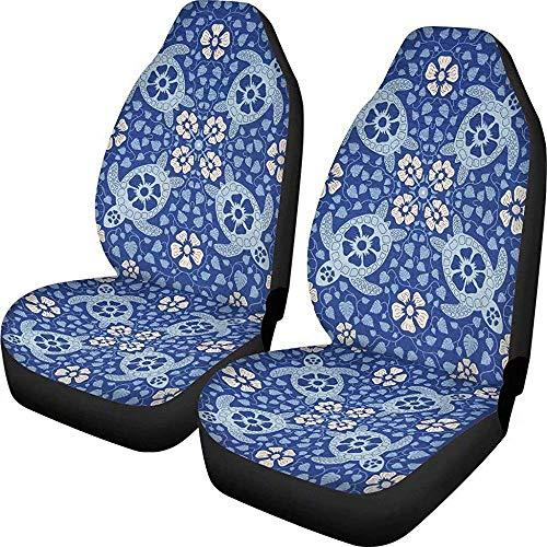 Drew Tours Hawaii Blue Aloha Turtle Pattern Autositzbezug Vordersitze Nur Voller Dehnbarer Schutz Für Autos LKW Geländewagen
