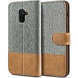 BEZ® Hülle für Samsung A8 2018 Hülle, Handyhülle Kompatibel für Samsung Galaxy A8 2018, Handytasche Schutzhülle Tasche Case [Stoff und PU Leder] mit Kreditkartenhaltern, Grau
