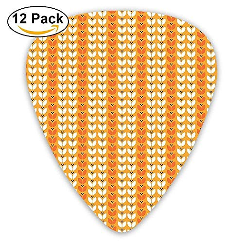 Orange White Summer Flowers Theme Tulip Leaves Classic Simple Pattern Guitar Picks 12/Pack -