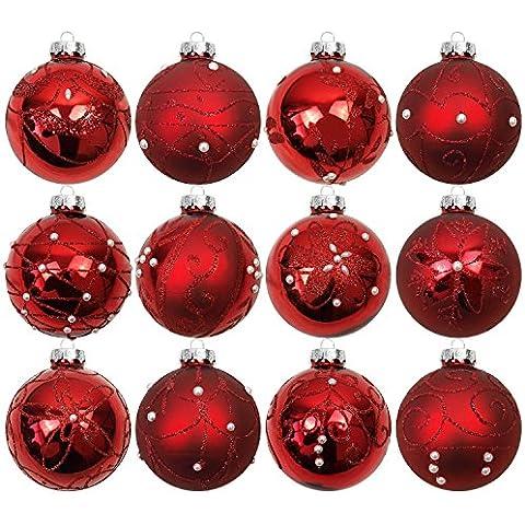 Set de 12 bolas de navidad Ø7cm vidrio rojo adornos del árbol de navidad decoración navideña decoración para el