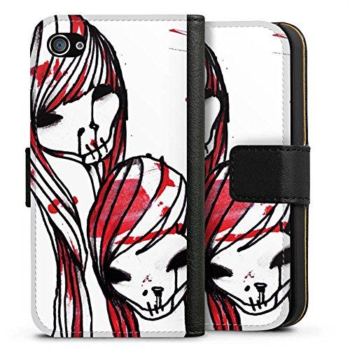 Apple iPhone X Silikon Hülle Case Schutzhülle DeadHoxtonGirls Gloria blutig Sideflip Tasche schwarz