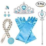 Vicloon 8pcs Princesa Accesorios Conjunto Trenza/Corona/Sceptre/Anillo/Pendientes/Guantes3-10 Años