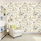 #10: Wallpaper | Bird Printed Designer Peel and Stick Decor wall paper home decoration (Self Adhesive) Decal wall paper in living room Bedroom office cafe & Restaurant- 44 SqFt