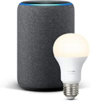 Echo Plus (2nd Gen), Charcoal Fabric + Philips Hue White bulb E27