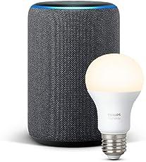 Das neue Echo Plus (2. Gen.), Anthrazit Stoff + Philips Hue White Lampe