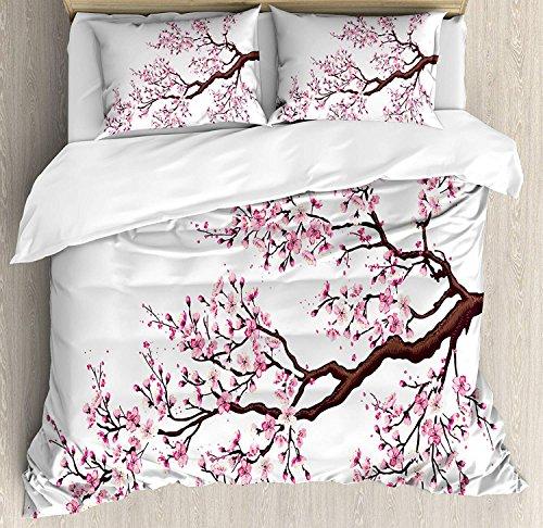 Soefipok Japanisches Bettbezug-Set, Zweig eines aufblühenden Kirschblüte-Baum-Kirschblüten-Frühlings-Themakunst, 3-teiliges Bettwäscheset mit Kissen-Shams, Königin/Voll, Rosa Dunkelbraun