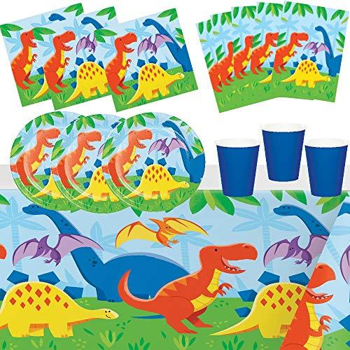 osaurier Party Haustiere Tiere 8 Kinder Deko Junge Mädchen Jungen Dekoration Tisch Partygeschirr Geschirr 1 Tischdecken 8 Teller 8 Tassen 16 Servietten 8 Partytüten ()