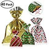 Pack of 40 Christmas/2019 New Years Gift Bags in 4 Sizes and 4 Designs, with Ribbon Ties