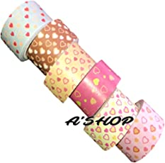 A'SHOP Colorful & Attractive Adhesive Decorative Paper Tapes with Filled and Plain HEARTS for Decorative Purposes like Art and Crafts, Gifts Wrapping (20MM x 5MTR) Printed Paper Tapes for School Kids, Children, Boys Or Girls(Set of 6 Tapes)