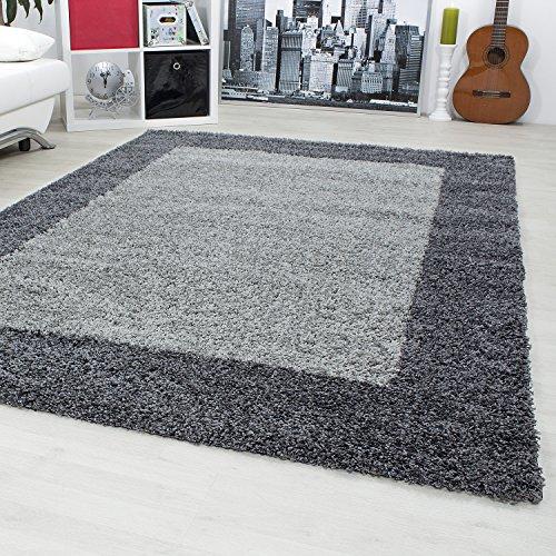 Hochflor Shaggy designer Teppiche mit zweifarbig Bordüre design für Wohnzimmer, Esszimmer. Gästezimmer mit 3 cm Florhöhe. Shaggy Teppiche mit...