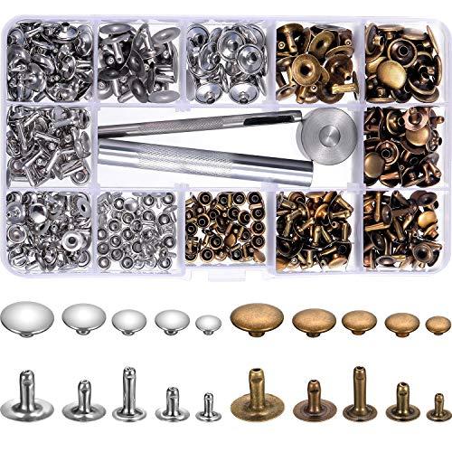 200 Set 5 Größen Nieten Leder Rivet Einzelne Cap Metallnieten Rohr mit 3 Stück Fixierung Werkzeug für DIY Handwerk Leder, Ersatz Nieten, 2 Farben (Silber und Bronze) (Leder-nieten-cap)