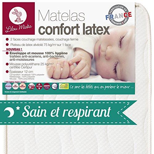 LILOU MIAKA - Matelas bébé Confort Latex - pour lit 70 x 140