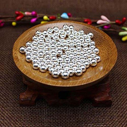 Pinzhi100 Stücke 925 Sterling Silber Loch Runde Nahtlose Perlen Spacer Lose DIY Handwerk - Perle-perlen-halsketten-bulk