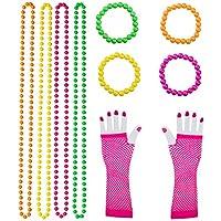 Keriber 10 piezas de plástico collares de cuentas de neón Pulseras de neón guantes de red larga Set 80 accesorios de fiesta, Multicolor